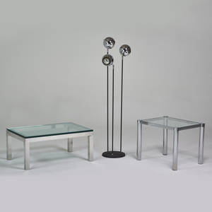 Designer two low tables and adjustable floor lamp usa 1960s chromed and enameled steel aluminum glass unmarked coffee 15 12 x 36 x 24 side 20 12 x 21 x 27 floor 59 12 x 16 dia