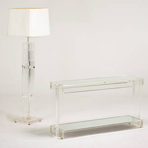 Modern acrylic console and floor lamp usa 1970s console 27 12 x 53 x 14 12 floor lamp 65 12 x 20 x 19