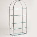 Designer chrome and glass etagere ca 1970s unmarked 79 x 38 x 16