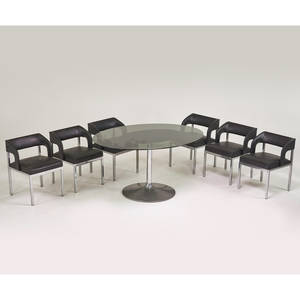 Chromecraft dining set table and six side chairs usa 1960s polished aluminum chromed steel glass unmarked chairs 28 x 20 x 21 table 30 12 x 60 x 36