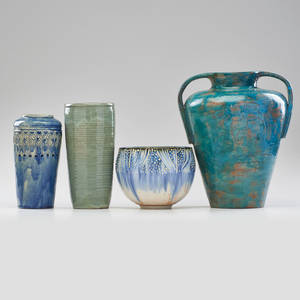 American studio four glazed ceramic vases wpa wickman pitney and similar mid 20th c all marked tallest 12 x 9