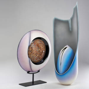 Doug anderson etc egg sculpture together with similar sculpture mounted on steel base usa 1980s glazed ceramics both signed larger 36 x 13 12 x 9 smaller 23 x 19 x 5 12