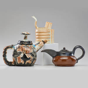 American studio three ceramic teapots late 20th c one incised with overlapping ws tallest 9 12 x 12 x 6
