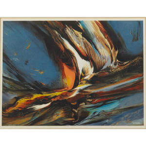 Leonardo nierman mexican b 1932 lithograph in colors on paper cosmic forces 1975 framed signed in the plate from an edition of 2400 9 12 x 12 58