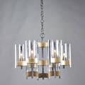 Gaetano sciolari sixlight chandelier italy 1970s brass glass chrome paper label to ceiling cap 46 34 x 21 14