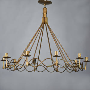 Italian tenlight ribbon chandelier 1950s painted metal unmarked to ceiling cap 29 x 36