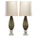 Murano pair of table lamps italy mid century blown glass marble single socket fabric shades remnant of a small circular label overall 35 34 x 14