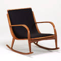Italian rocking chair 1960s bent beech upholstery ink stamped made in italy 30 x 27 x 35