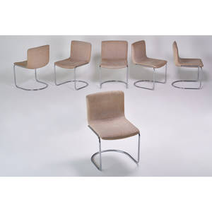Saporiti italia set of six cantilevered side chairs italy 1970s chromed steel upholstery fabric tags 33 x 21 x 24