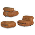Tobias scarpa pair of soriana lounge chairs and single ottoman italy 1970s leather chromed steel distributor and manufacturers labels to all pieces chairs 26 x 36 x 39 ottoman 16 12