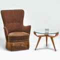 Italian lounge chair and occasional table 1950s mohair fringe beech glass brass chair 36 12 x 28 12 x 29 table 18 x 25 dia