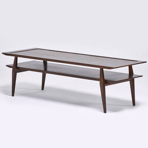 Bertha schaefer singer  sons coffee table italy 1950s stained wood unmarked 17 x 56 x 19