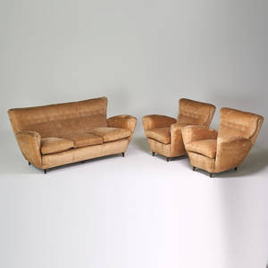 Style of paolo buffa sofa and two armchairs italy ca 1950s upholstery stained wood unmarked sofa 33 x 75 x 36 chair 33 x 36 x 36