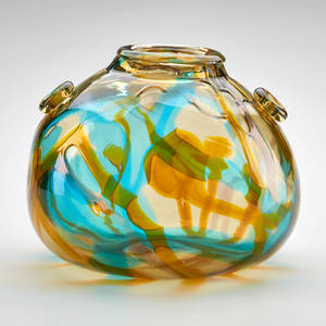 Murano bulbous vase with applied decoration italy 1950s unmarked 8 12 x 9 12