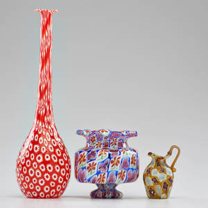Fratello toso attr etc three pieces murrine glass fratelli toso attr ruffled rim vase and tall bottle missing stopper together with similar creamer italy ca 1960s unmarked bottle 14