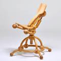 Studio sculptural chair with adjustable all wood mechanism 1990s turned laminated ash unmarked 42 12 x 27 x 30