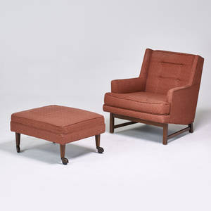 Style of edward wormley lounge chair and ottoman usa 1950s stained wood upholstery casters chair 32 x 29 x 35 ottoman 15 x 28 x 23