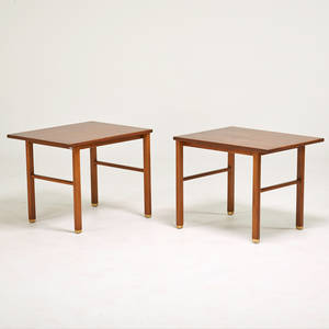 Edward wormley dunbar pair of lamp tables berne id 1960s walnut brass brass labels 22 x 28 x 22