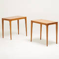 Edward wormley dunbar pair of lamp tables berne id 1950s mahogany paper labels 24 x 26 x 16