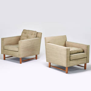 Edward wormley dunbar pair of lounge chairs berne in 2000s maple upholstery upholstery labels 28 x 29 x 32
