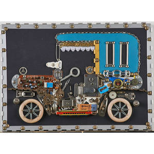 Hans jegi 20th c pair of assemblages on particle board mercedesbenz 1911 2000 and ford t 1912 2000 both signed dated and titled larger 12 14 x 15 58
