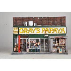 New york city diorama 20th c mixed media of grays papaya illegibly signed 45 x 30 x 12