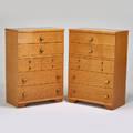 United furniture corp pair of tall dressers lexington nc 1950s birds eye maple brassplated metal metal labels 49 12 x 34 x 19