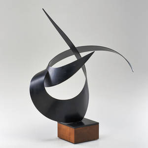 Style of c jere tabletop sculpture 1984 enameled metal on wooden base signed and dated rahm 84 21 12 x 14 12 x 13