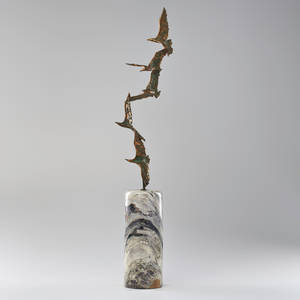 C jere artisan house birds in flight sculpture on marble base los angeles ca 1970s brass copper steel signed 40 x 9 x 6 12