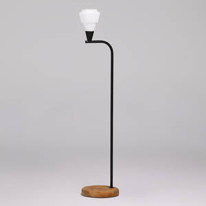 Bill lam floor lamp somerville ma ca 1970 enameled metal and glass on wooden base signed 54 x 10 12