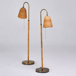 Modern pair of adjustable floor lamps usa 1970s rattan wicker brass unmarked 47 x 18 x 10