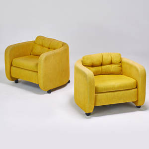 Style of milo baughman pair of lounge chairs on casters 1970s upholstery unmarked 26 x 31 x 30
