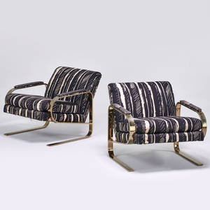 Style of milo baughman pair of lounge chairs usa 1970s brass plated metal upholstery unmarked 27 12 x 30 x 34