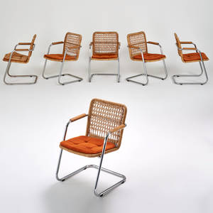 Style of milo baughman set of six armchairs usa 1970s chromed steel woven wicker oak armrests upholstered seats 32 12 x 22 x 23