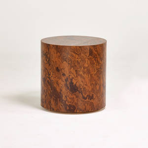 Style of milo baughman side table usa 1970s veneered wood unmarked 21 x 20 dia