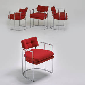 Milo baughman thayer coggin four armchairs high point nc 1970s chromed steel upholstery unmarked 28 x 22 x 24