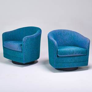 Milo baughman thayer coggin pair of tiltswivel lounge chairs high point nc 1970s upholstery one retailer label 28 x 29 x 29
