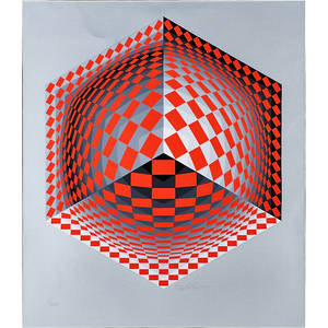 Victor vasarely hungarian 19061997 screenprint in colors on silver paper mertan framed signed and numbered 1250 27 14 x 23 12 sight