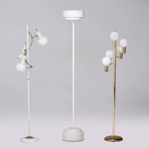 Modern three floor lamps usaitaly 1950s1970s enameled metal brass unmarked tallest 71 x 11 12