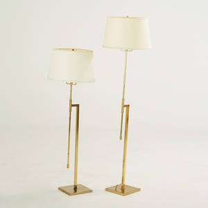 Laurel lamp co pair of adjustable floor lamps newark nj 1960s brass linen shades unmarked as shown 55 x 16 12 dia