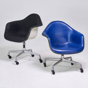 Charles and ray eames herman miller two armchairs zeeland mi 1960s aluminum plastic reinforced fiberglass vinyl fabric upholstery manufacturers markings taller 31 12 x 25 12 x 22 1