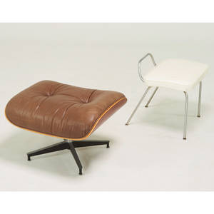 Charles and ray eames herman miller ottoman zeeland mi 1990s together with herman miller vanity stool aluminum vinyl unmarked eames 18 x 26 x 20 herman miller 20 x 20 x 18