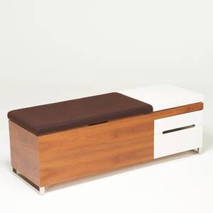 Blu dotherman miller cognita storage bench zeeland mi 2000s walnut lacquered wood upholstery manufacturers labels 18 12 x 54 12 x 19