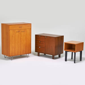George nelson herman miller cabinet dresser and side table zeeland mi 1950s primavera walnut enameled wood zincplated metal unmarked cabinet 45 12 x 34 x 18 12 dresser 30 x 34