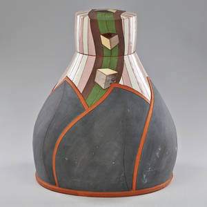 Don cornett partially glazed terra cotta vessel with lid usa ca 2000 signed 17 12 x 13