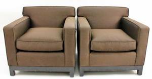 Pair of Modern Brown Fabric Upholstered Armchairs