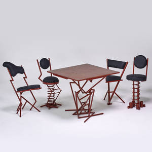 French bistro set table and four chairs 1950s enameled steel upholstery table 30 x 34 x 34 tallest chair 36 x 14 x 17