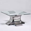 Francois monnet coffee table france 1970s stainless steel glass unmarked 16 12 x 31 12 sq