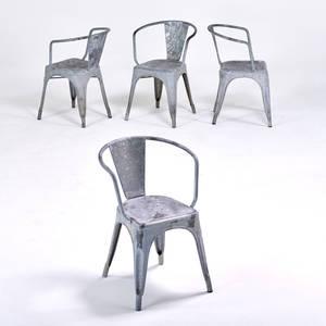 Xavier pauchard tolix four marais a galvanized steel armchairs france ca 1930s unmarked 29 x 20 x 19