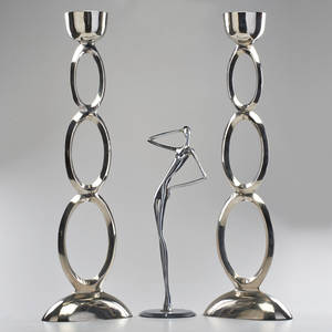 Contemporary figural sculpture and pair of pillar candle holders unmarked 33 12 x 12 x 6